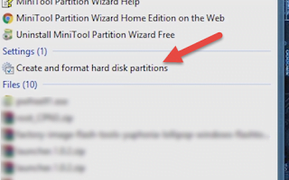 Open Create and format Hard Disk Partitions window