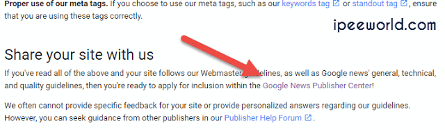 Google news Site submission link