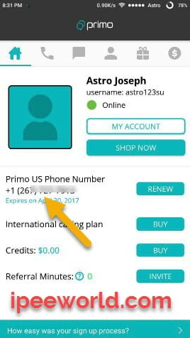Copy The United States Number from Primo App