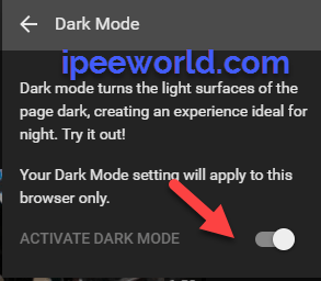Enable Dark Mode in Youtube
