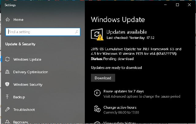 update windows to fix taskbar issues