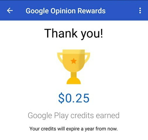 Google Opinion Rewards Earnings Proof