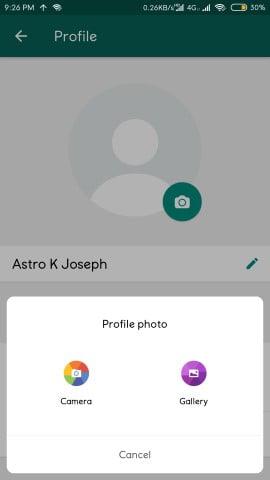 select WhatsApp DP