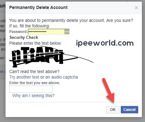 Verify to Delete Facebook Account