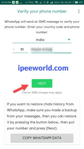 Enter Mobile Number YOWhatsApp APK