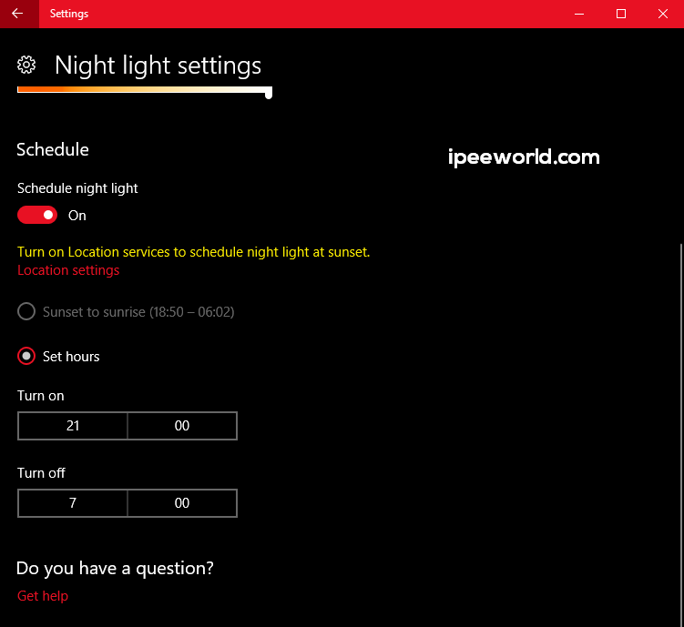 Adjust Night Light Settings in Windows 10