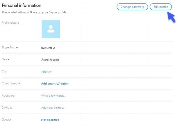 Edit Skype Profile to Delete Account