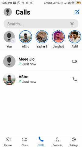 calls section ios styled whatsapp