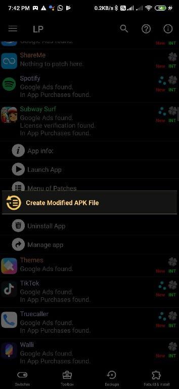 create mod apk