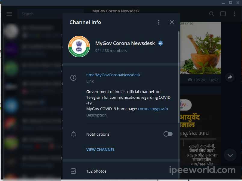 india government official telegram channel for coronavirus updates